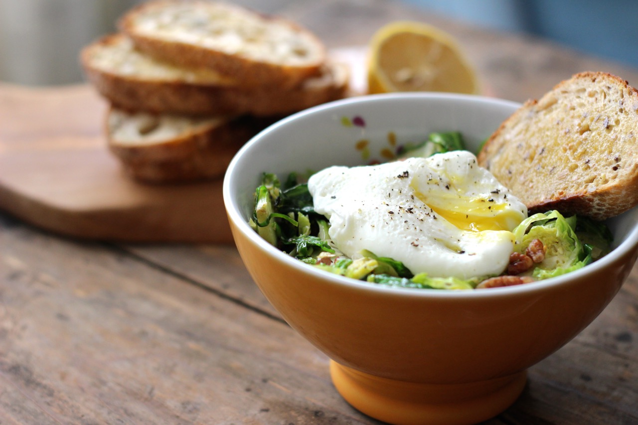 Brussels Sprouts, Bacon & Pecans with Lemon and Egg
