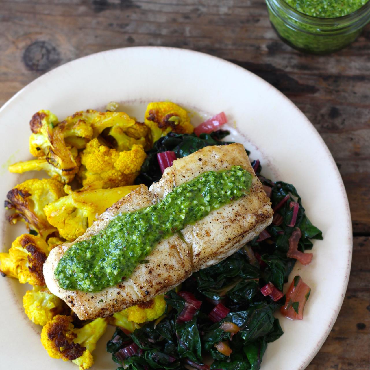 Seared Fish with Sauce Verte, Cauliflower, Preserved Lemon and Chard