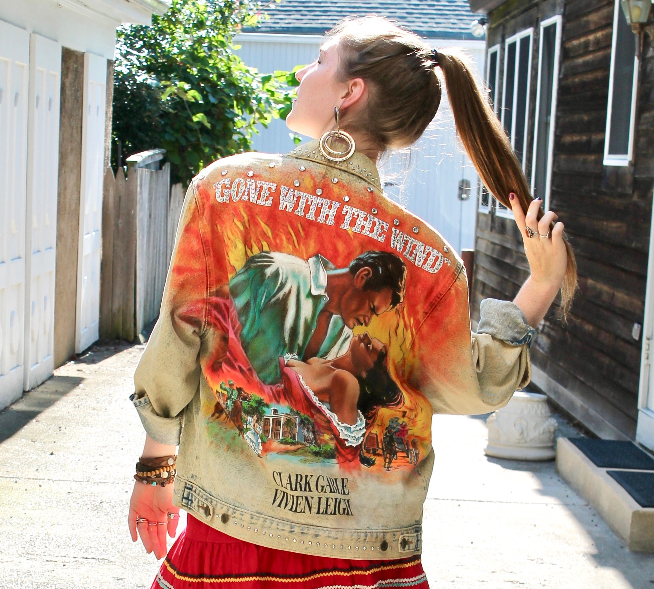 """Madison wearing """"Gone with the Wind"""" Tony Alamo jacket available at The Times Vintage!"""