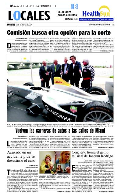 2014 FORMULA E   NUEVO HERALD COVER PAGE