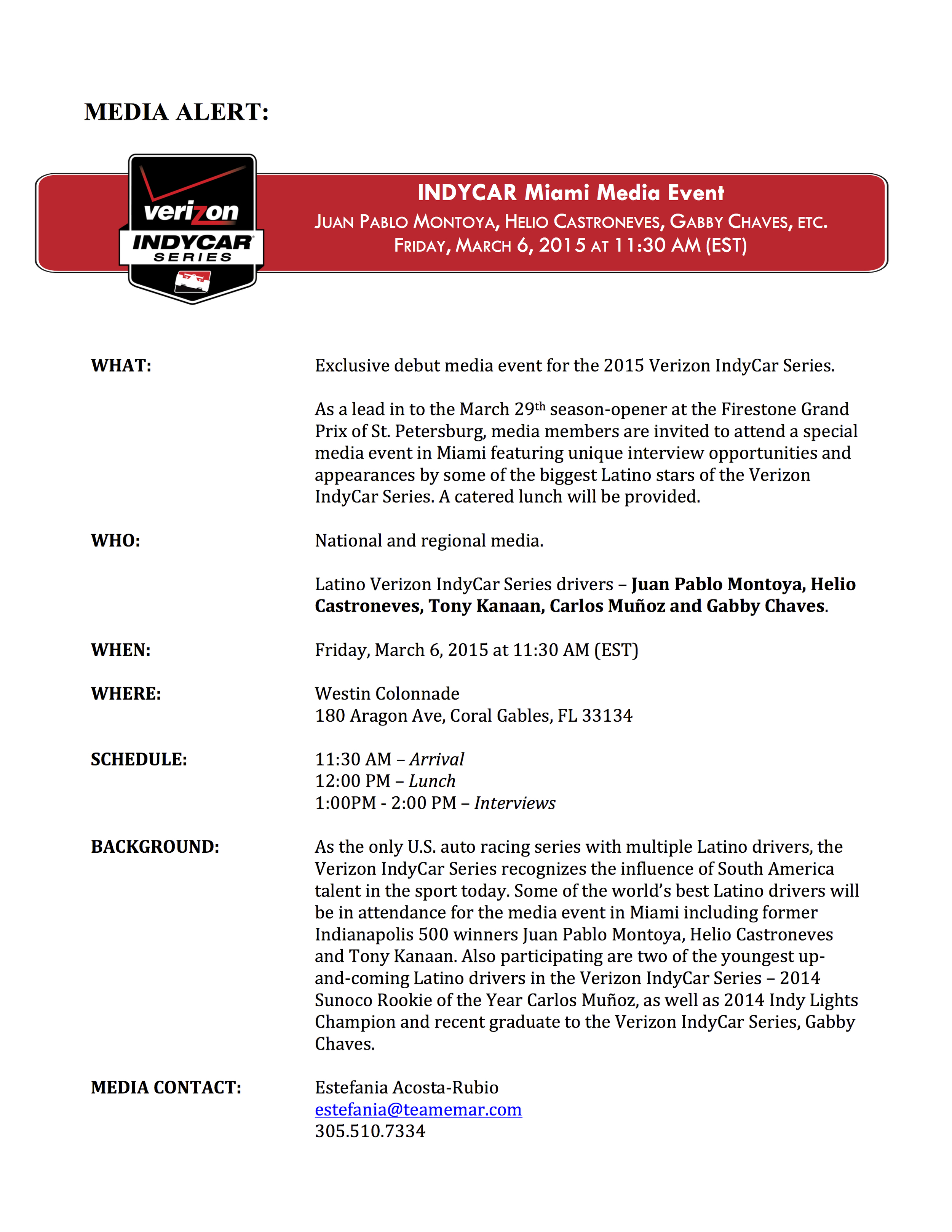 Media Alert - IndyCar Miami Media Event (English)