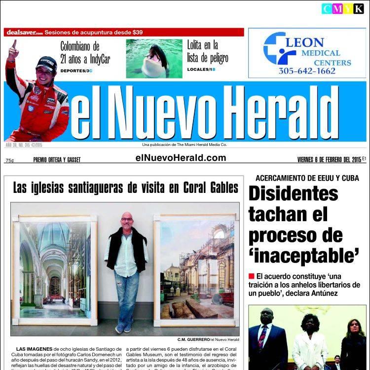 INDYCAR EL NUEVO HERALD FRONT PAGE (2-6-15)