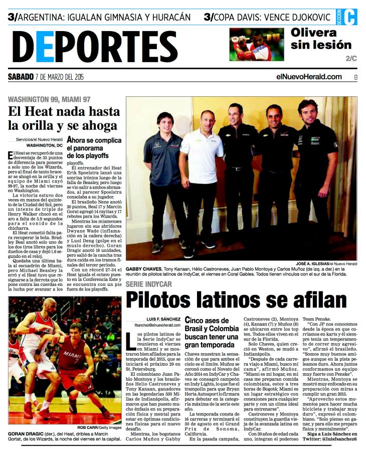 EL NUEVO HERALD SPORTS COVER PAGE (3-7-15)