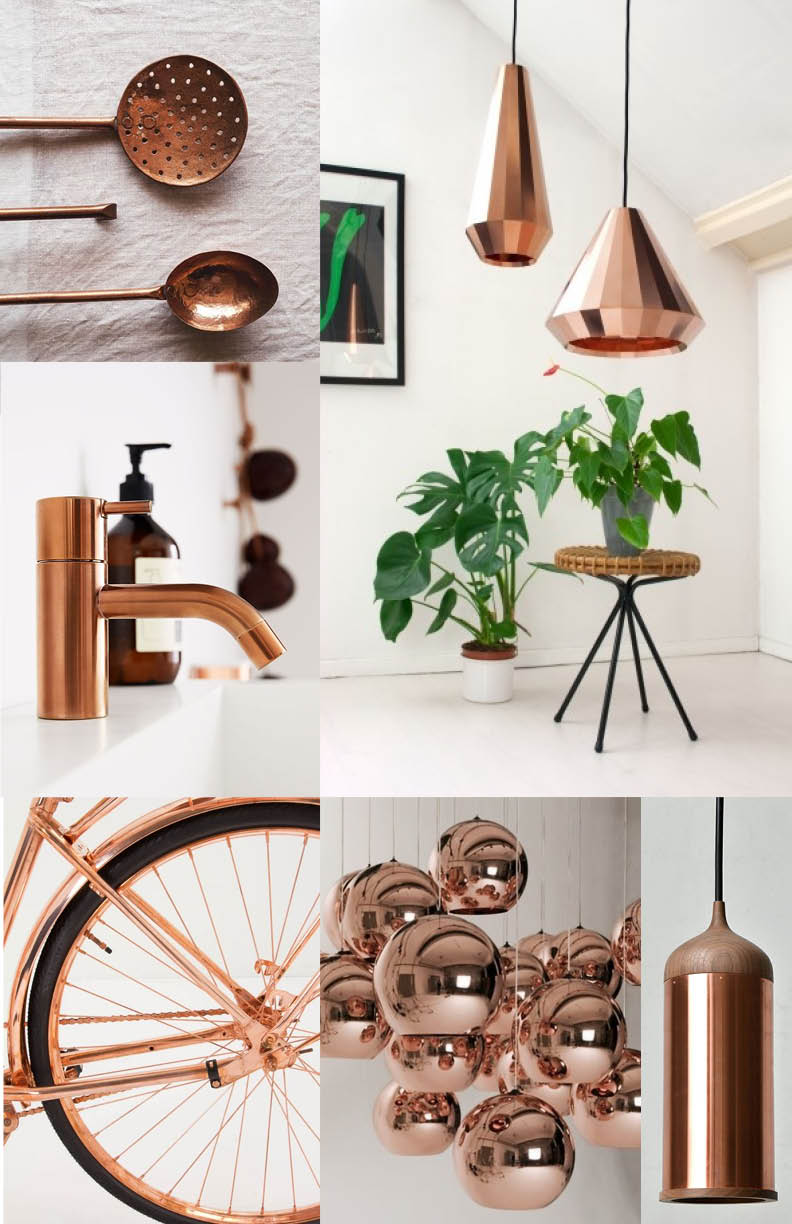 Copper (set against a white back drop...) is our new favorite metal. Very popular in product design for kitchen and lighting. Love the unexpected application - the bike.