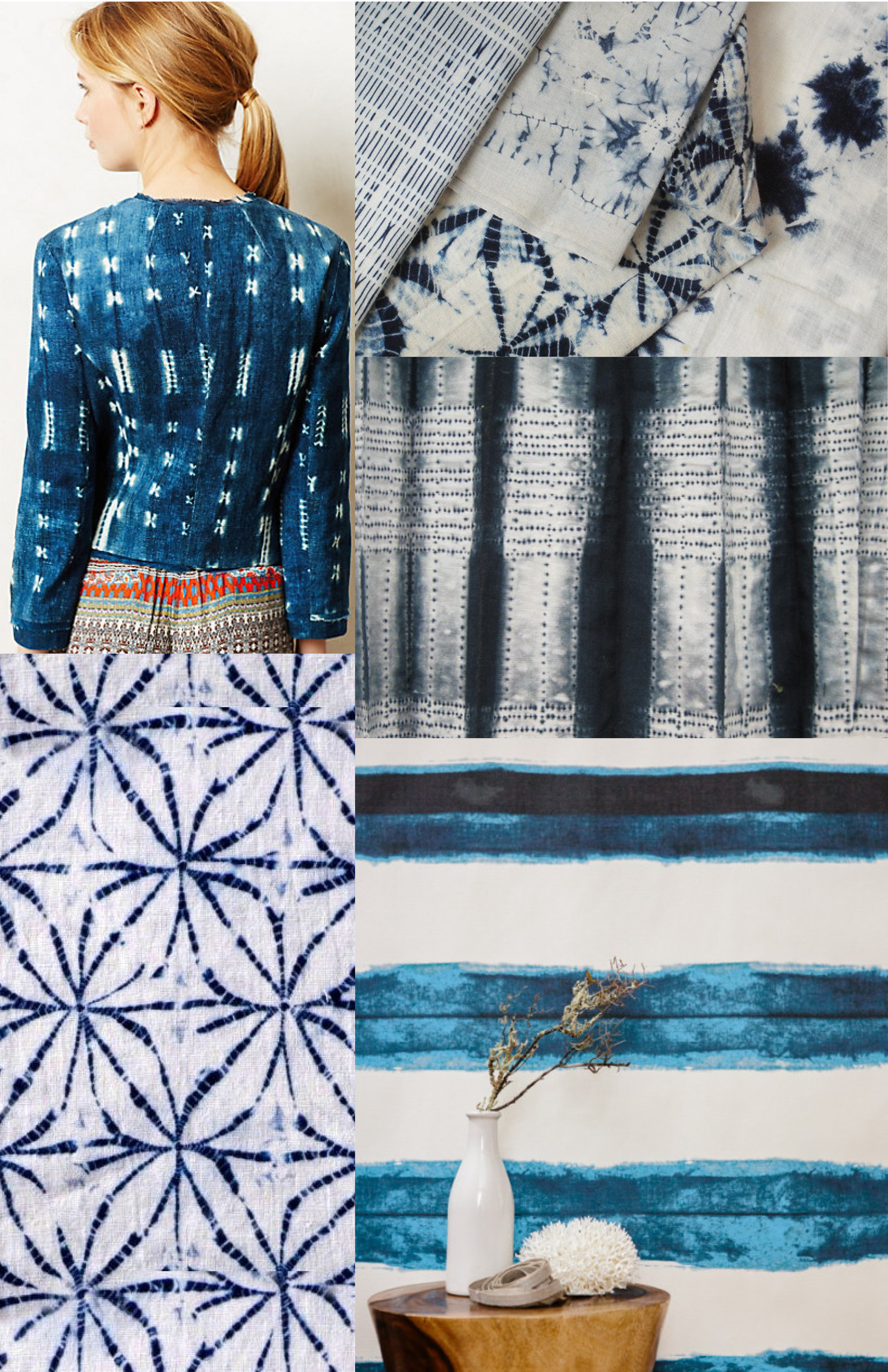 I know I've been a bit behind on my trend boards - with NeoCon approaching it's been busy! This board is a tribute to a lost love of mine - Shibori! I've been seeing it popping up left and right. Tie-dye's more sophisticated cousin, shibori honors traditional dying techniques.