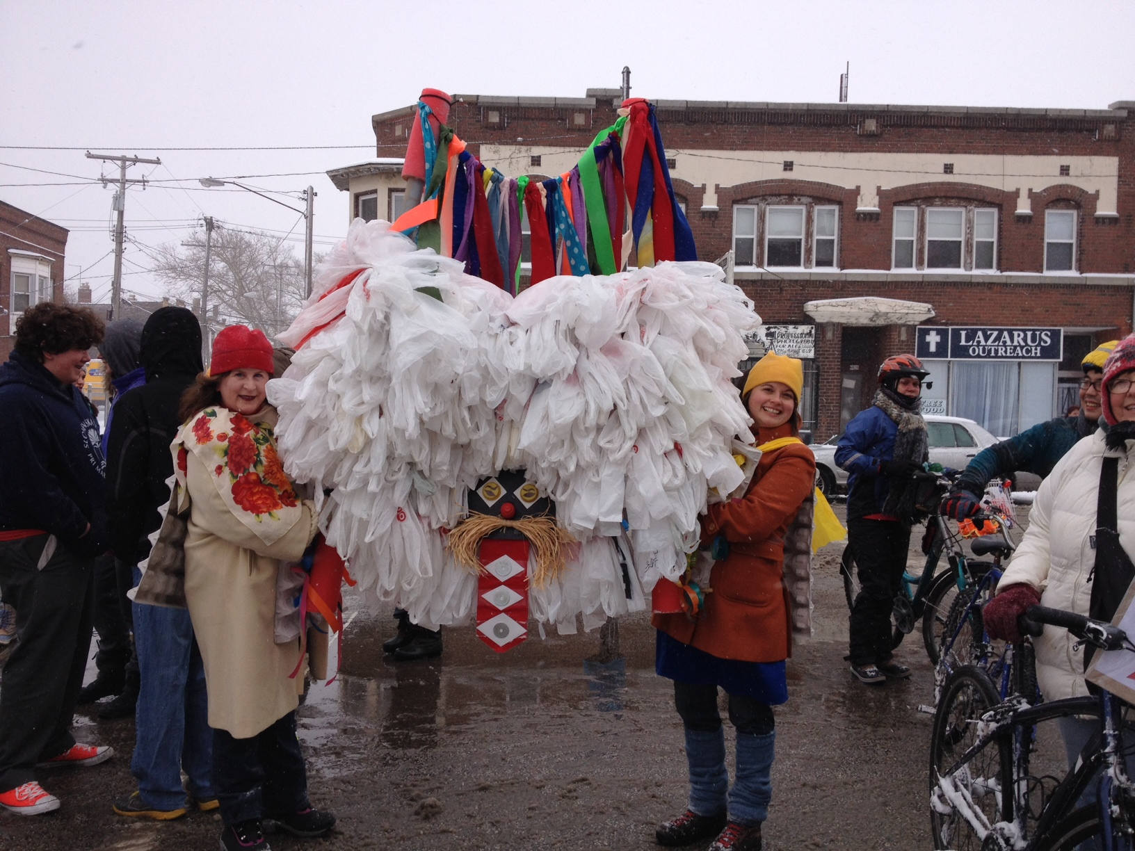 Kurentovanje 2015 --Upcycle Parts Shop's awesome volunteer Michele Kilroy delivered a homespun upcycled kurent that was so awesome it made us scream with enthusiasm to march in the snowstorm!  Made of 600 plastic bags, he goes by the name Goran and really captures the St. Clair neighborhood:  Slovenian + upcycling + good at cold weather and proud to walk down St. Clair Avenue.