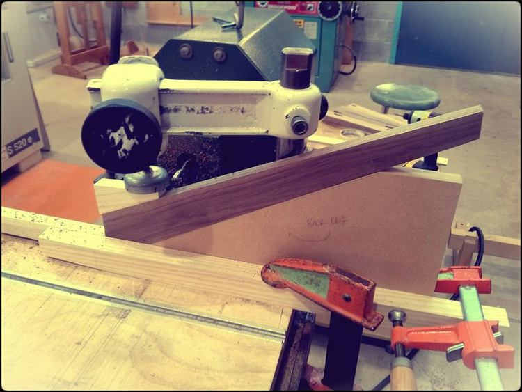 Cutting mortise for Faccetta side chair legs.