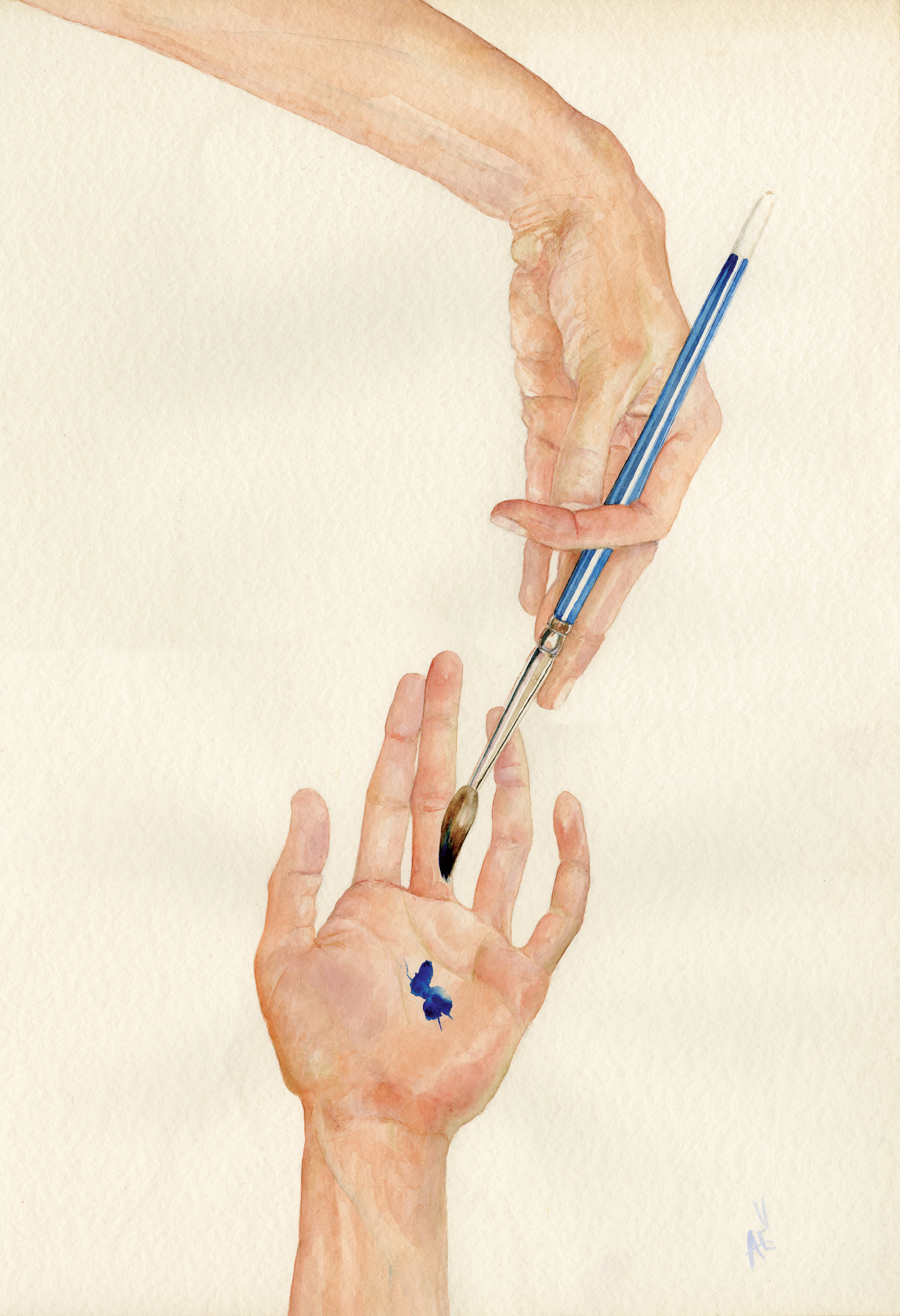 "Hand to Brush  Watercolour on Fabriano, 15""x 22"""