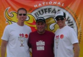 """Steve and Scott Roth with Drew """"The Wing King"""" Cerza at the National Buffalo Wing Festival"""