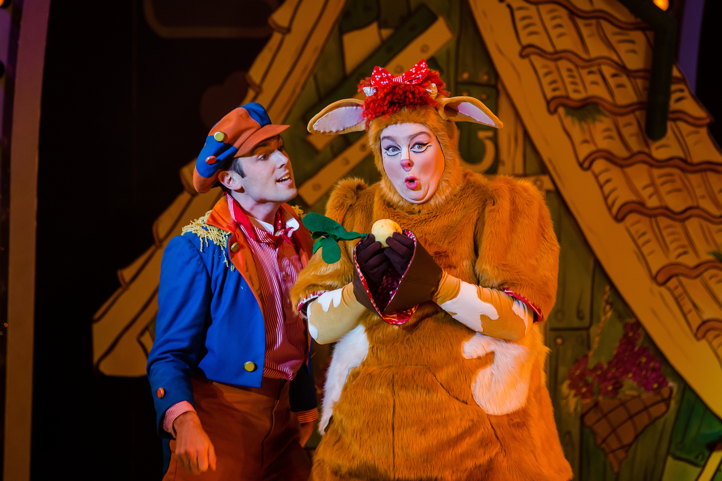 Sam Harrison as Jack and Laura Crowhurst as Pat the Cow in Jack & the Beanstalk Photo026.jpg
