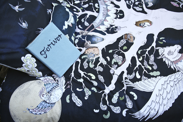 IMAGE 7: Close up of Forivorland side of Enchanted Forest Duvet Set.   Photo Credit: Lark Rise Pictures for Forivor