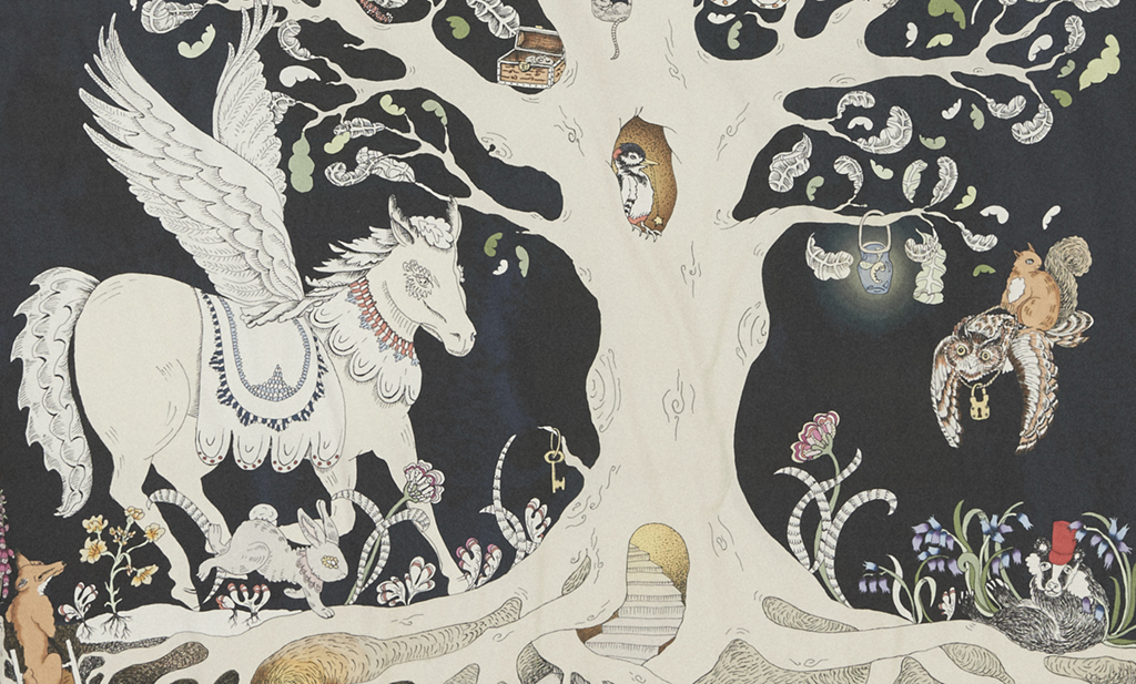 Detail of the Forivorland side of Forivor's Enchanted Forest Duvet Set.