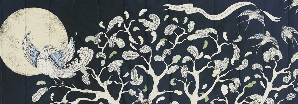 Detail of the Forivorland side of Forivor's Enchanted Forest Quilted Blanket  Credit: Jon Gorrigan