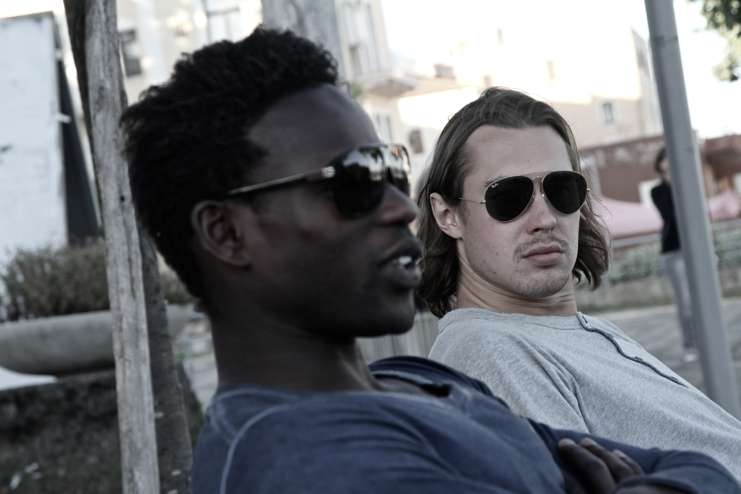 Mathias and Pole Vault Friend Alhaji Jeng relaxing in Formia, Italy 2013