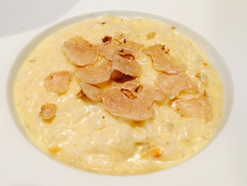 Clam risotto with white truffles