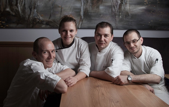 Chef Maillard (second from the right) and his team at La Table d'Eugène