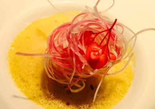 Langoustines, saffron broth and root vegetable linguine