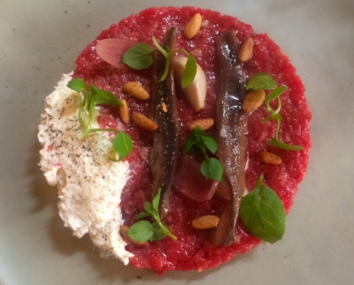 Beef tartare, anchovies, burrata