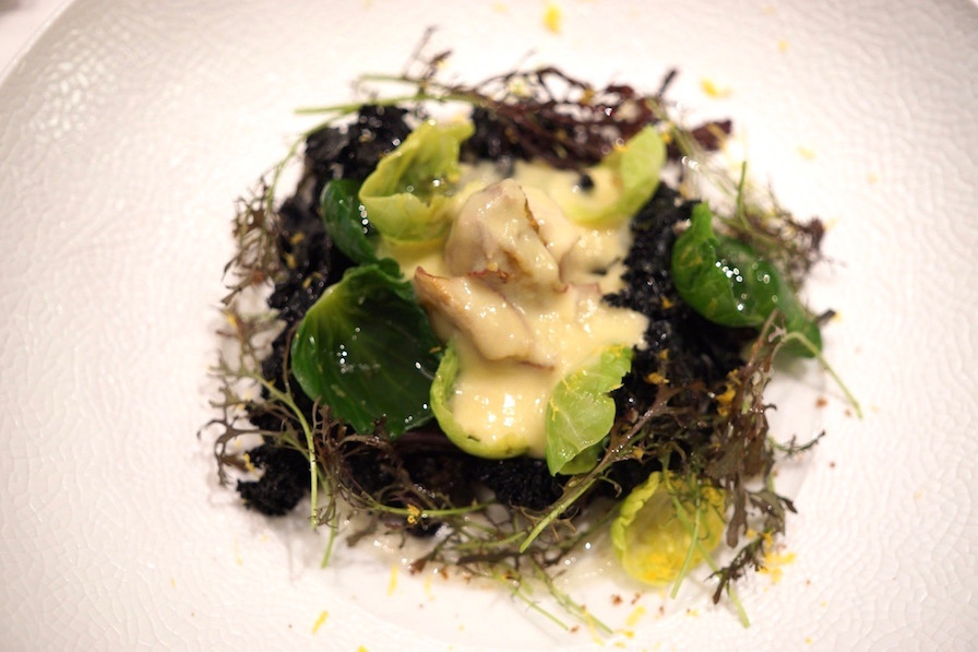 Black kale, endive, Brussel sprout leaves + leek sauce