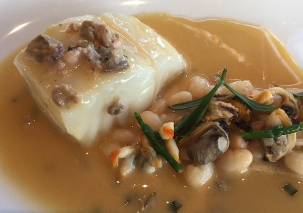 Lieu jaune  (pollack), shellfish sauce and  cocos de Paimpol  white beans