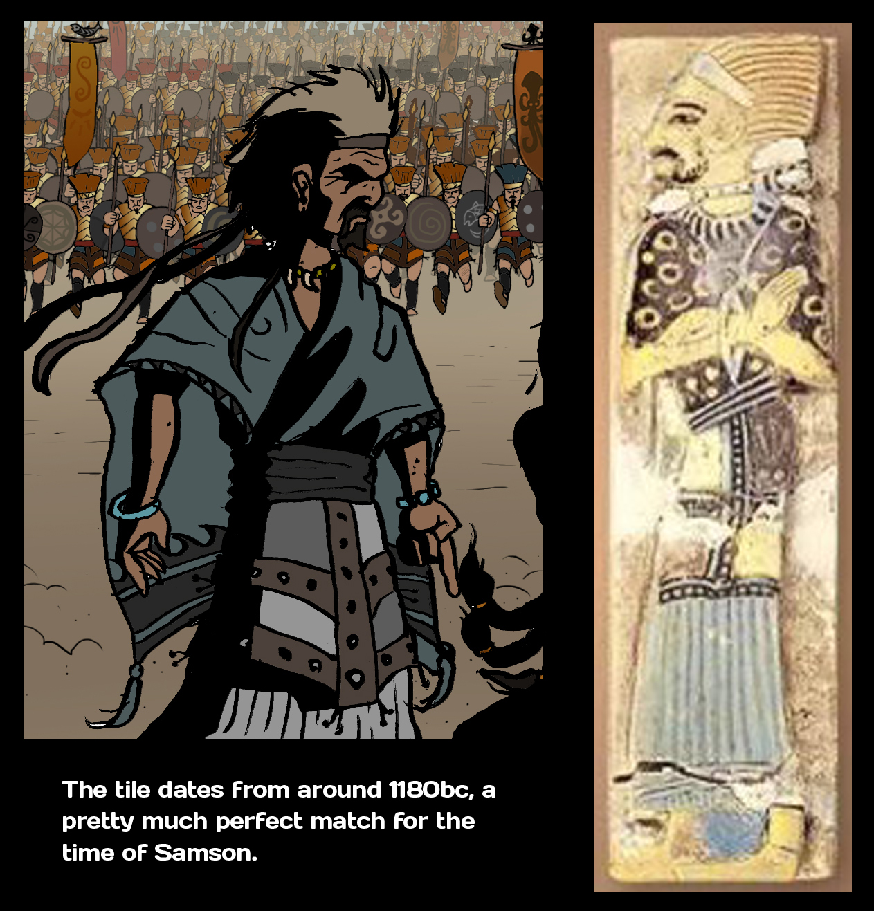 Comparing my picture of leader of Judah and an Egyptian tile of the day.