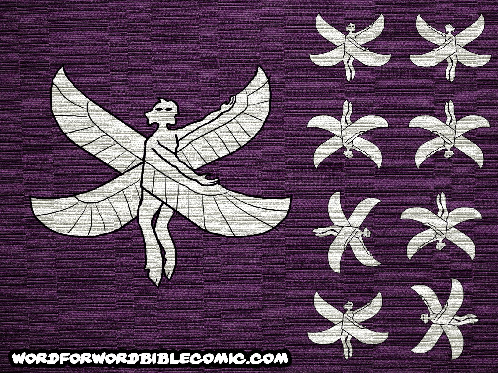 Very Rough Cherub Icon for Tabenacle Curtain Cherubim Angels