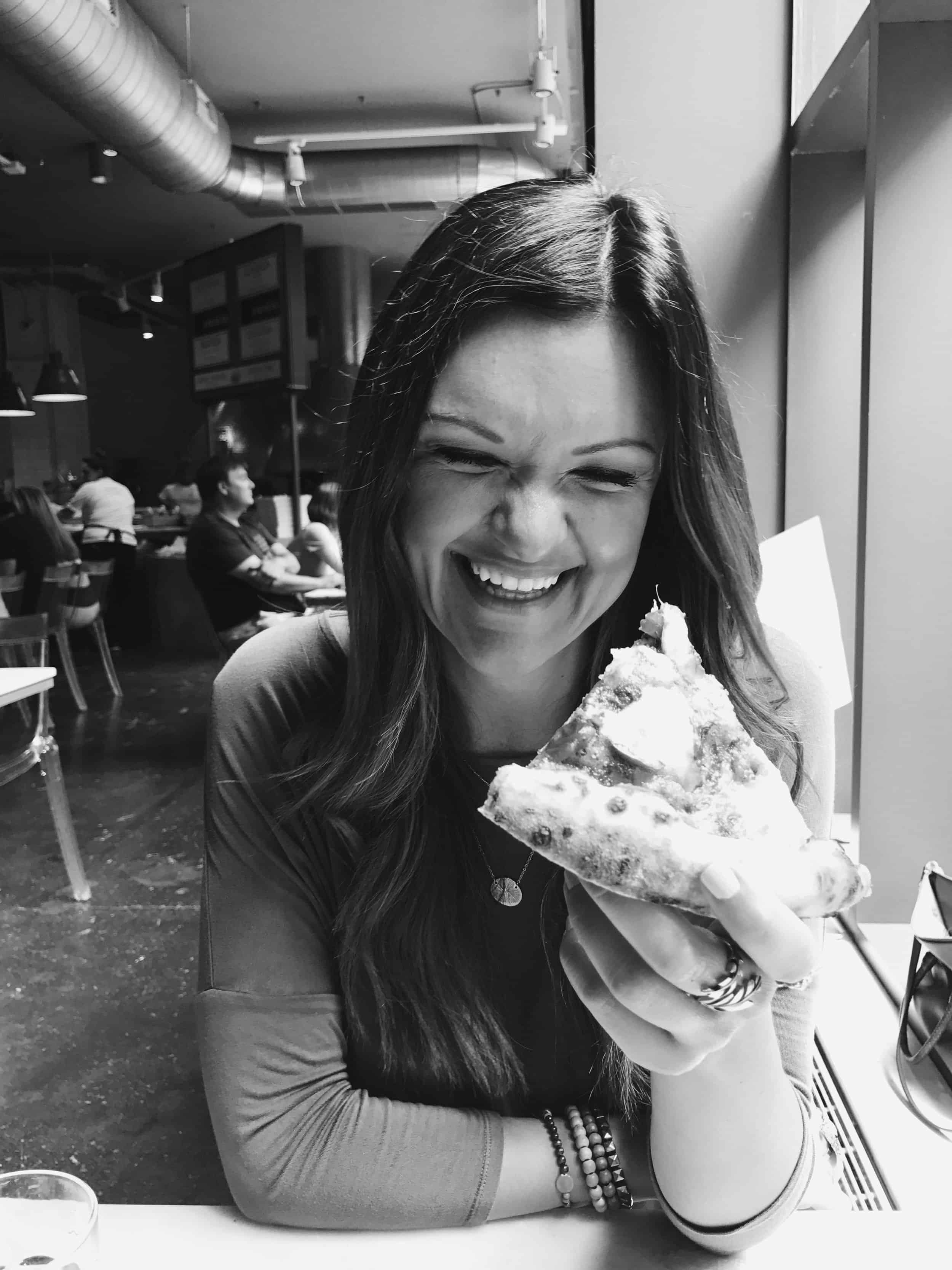 LOOK at how happy this pizza made me.