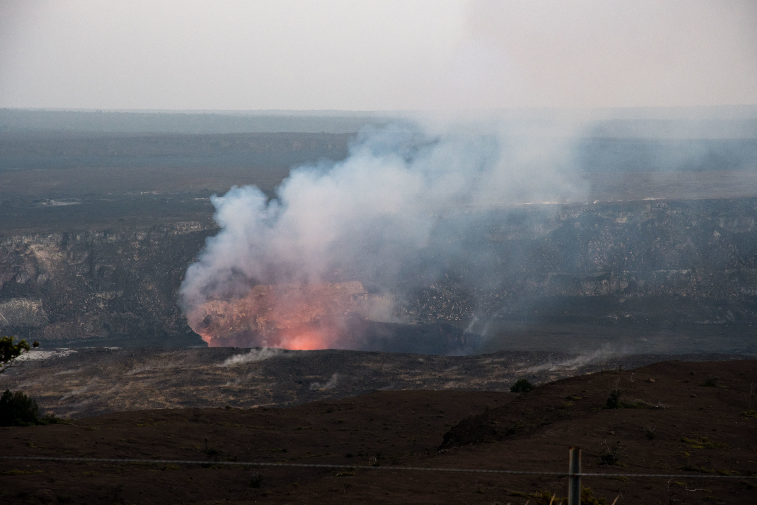 Halema'uma'u crater from the Jaggar Museum viewing area.