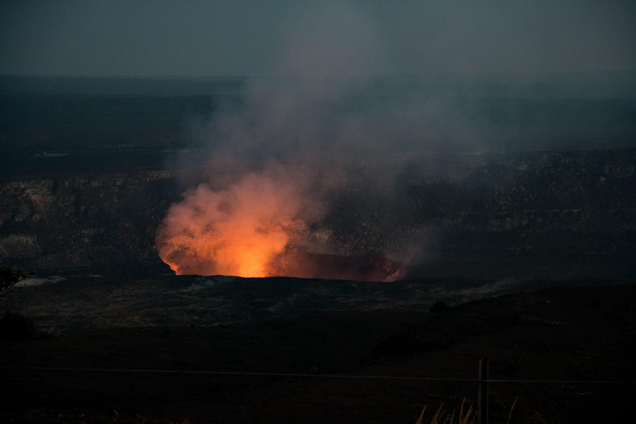 Halema'uma'u crater just after sunset.
