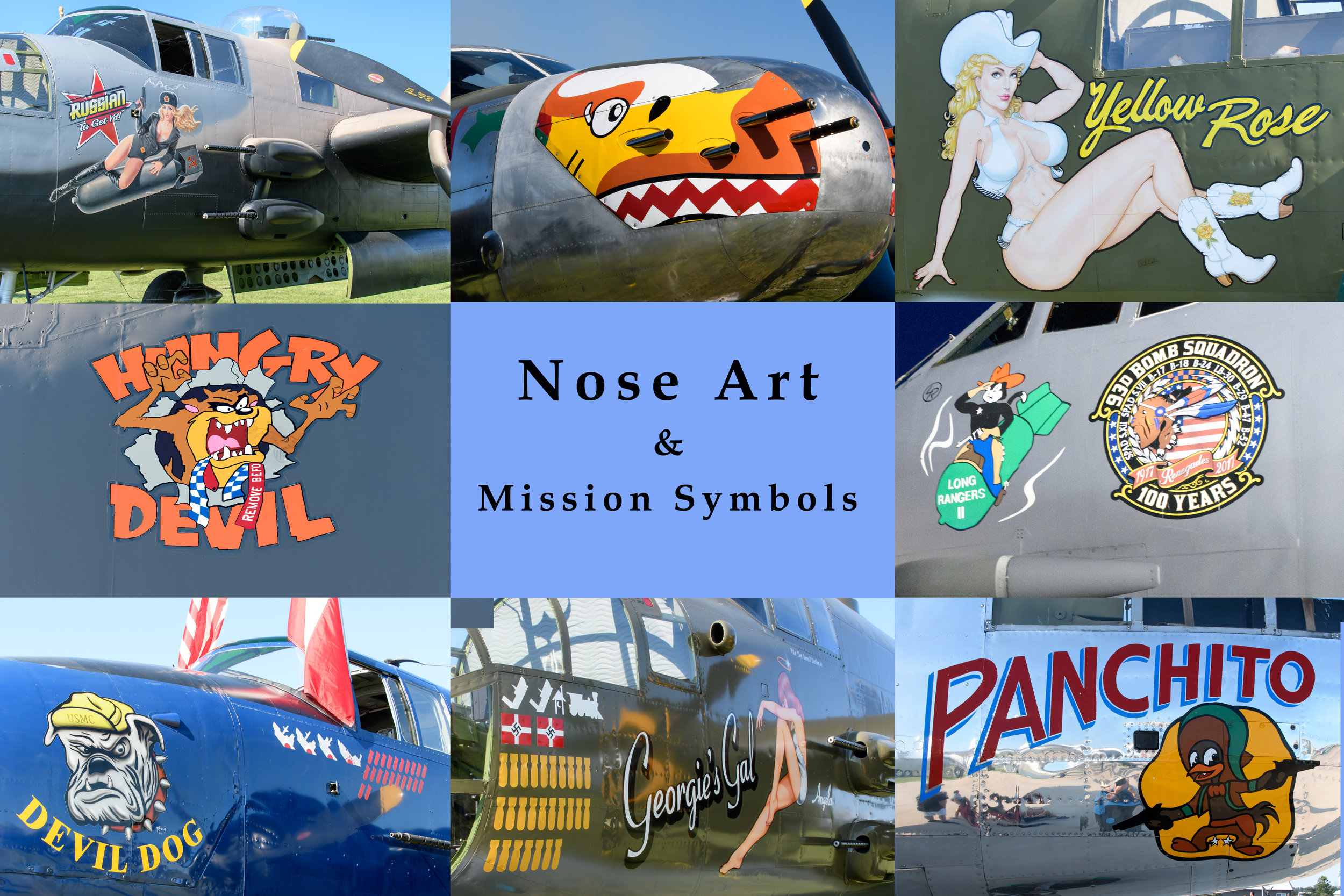The artwork is quite detailed on the planes. The EAA museum has an exhibit of nose art on display (something to go back to see?) The mission symbols on Georgie's Gal above represent 27 bombing missions, 2 downed aircraft, two ships, and a train. The one symbol that I was not able to find a description of was the little house with a moon on it...several of us jokingly said maybe they had hit an outhouse!