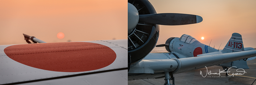 Having access to the planes from early in the morning allowed me to get to the airfield before sunrise. One morning the sun was just rising, burning off the fog, and I was able to get this image of the rising sun over the rising sun emblem on the Japanese planes.