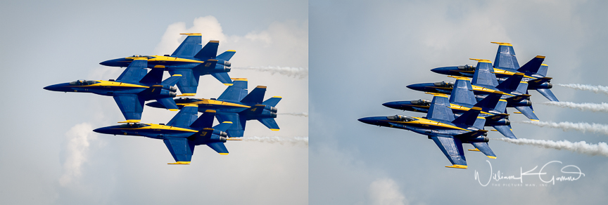 The Blue Angels demonstration consists of 6 Boeing F/A-18 Hornet aircraft. The narrator said that the maneuvers are not just for show but are actually combat maneuvers. The show consists of 4 of the aircraft performing close formation-and they are tight and precise.