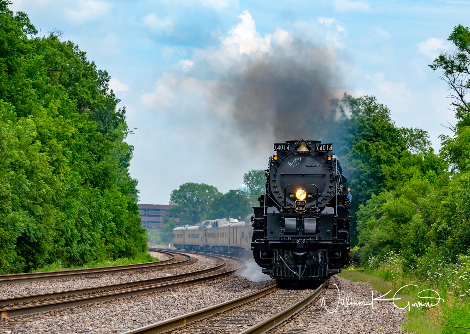 Union Pacific Big Boy 4014 steams down the track in Winfield, IL.