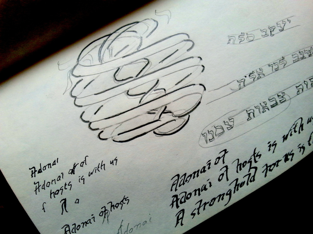 Sketch; designing the Feinstein amulet