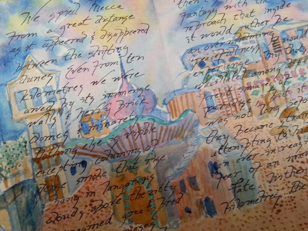 'A Pilgrimmage tu Mecca', a fold-out book, panels 5 & 6