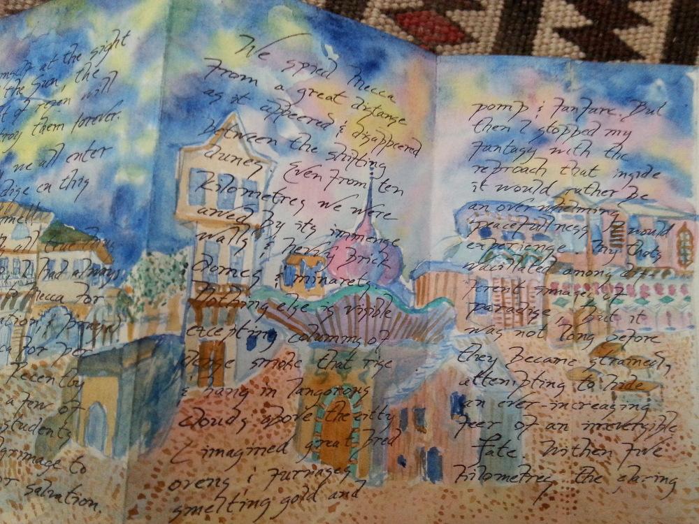 'A Pilgrimmage tu Mecca', a fold-out book, panels 4, 5, & 6