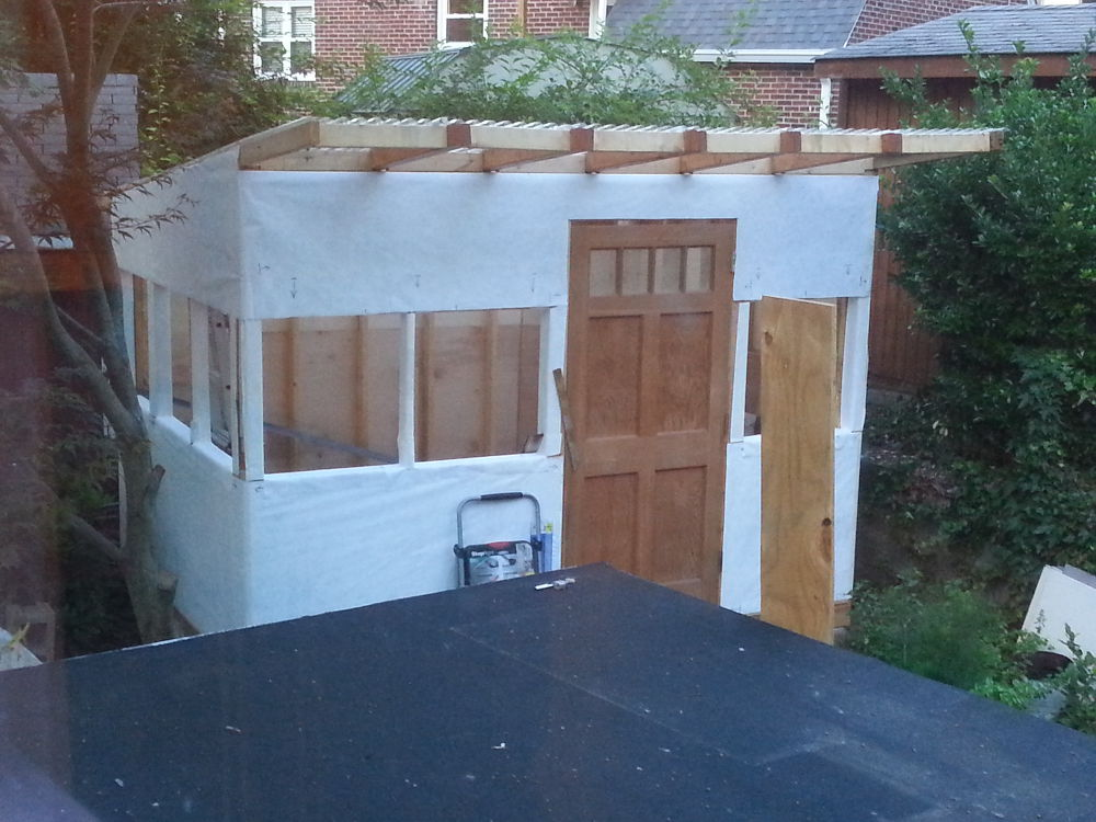 rebuilding a shed, 3: wrapped in tyvek