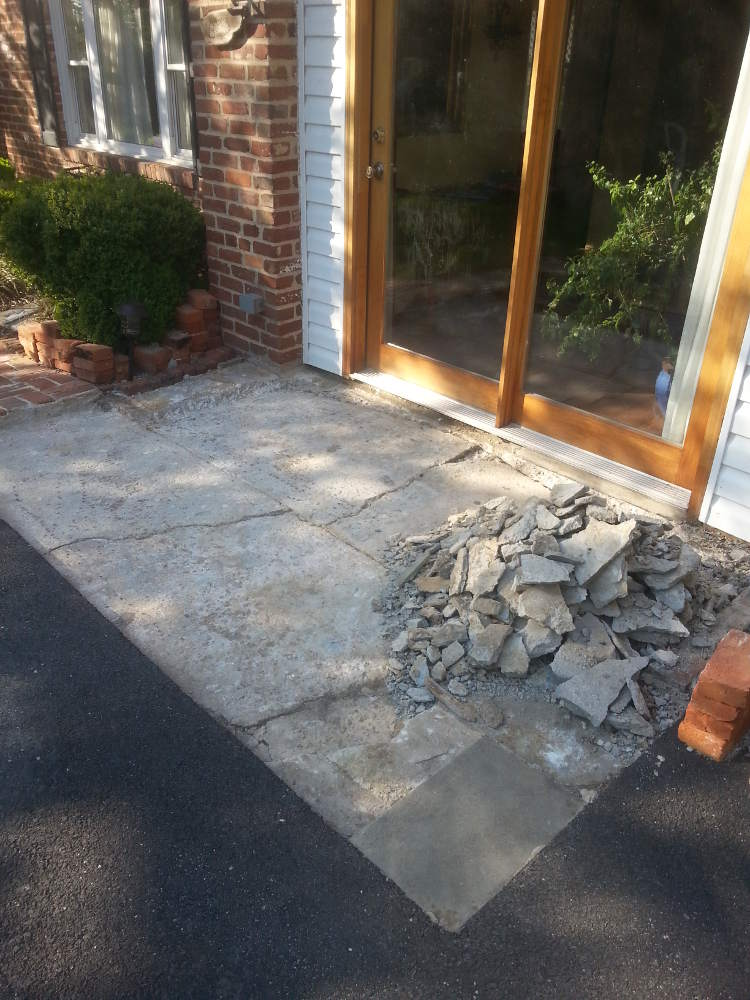 front entrance, removing slate and concrete base; nasty