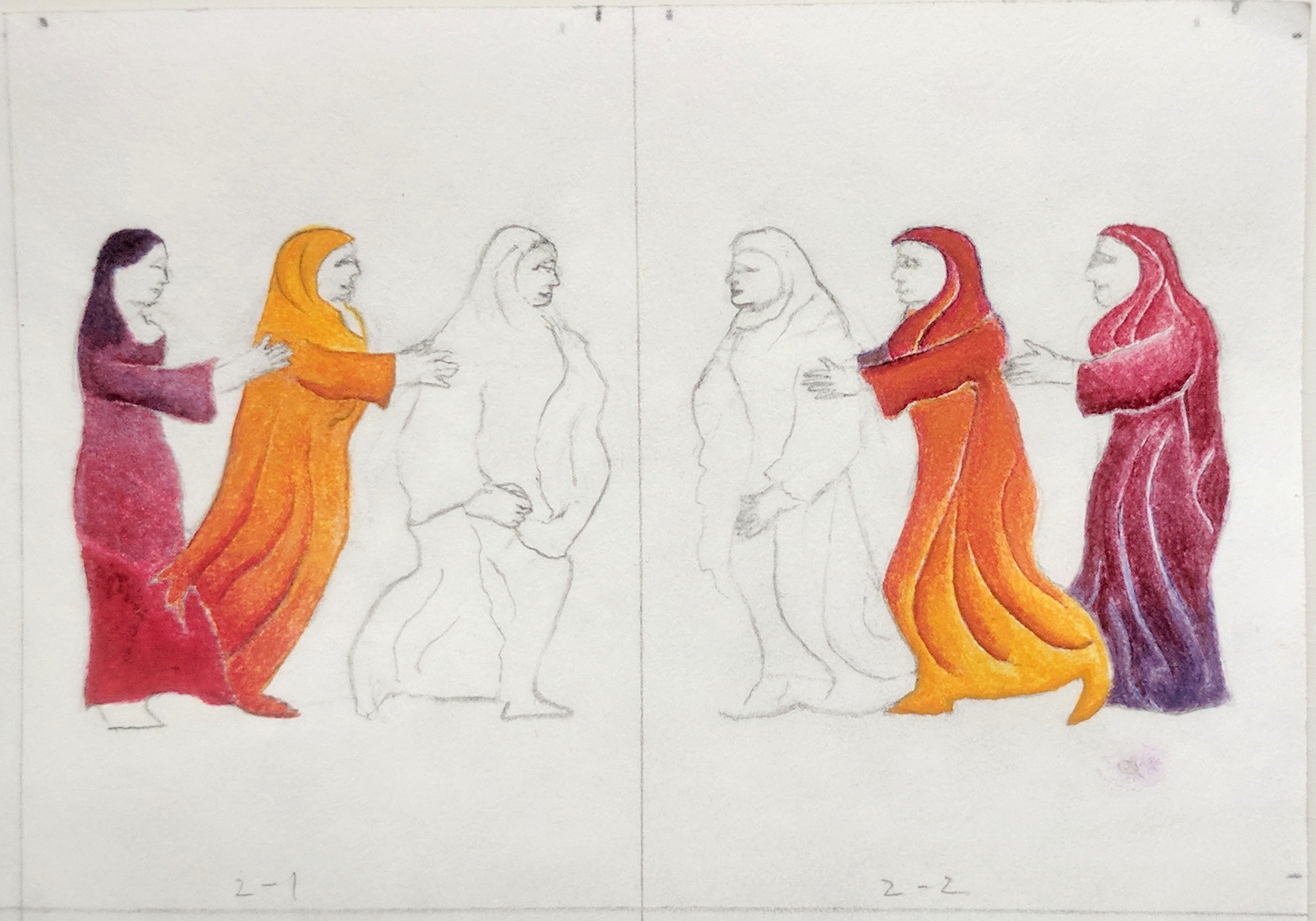 Dancing women, in process 1