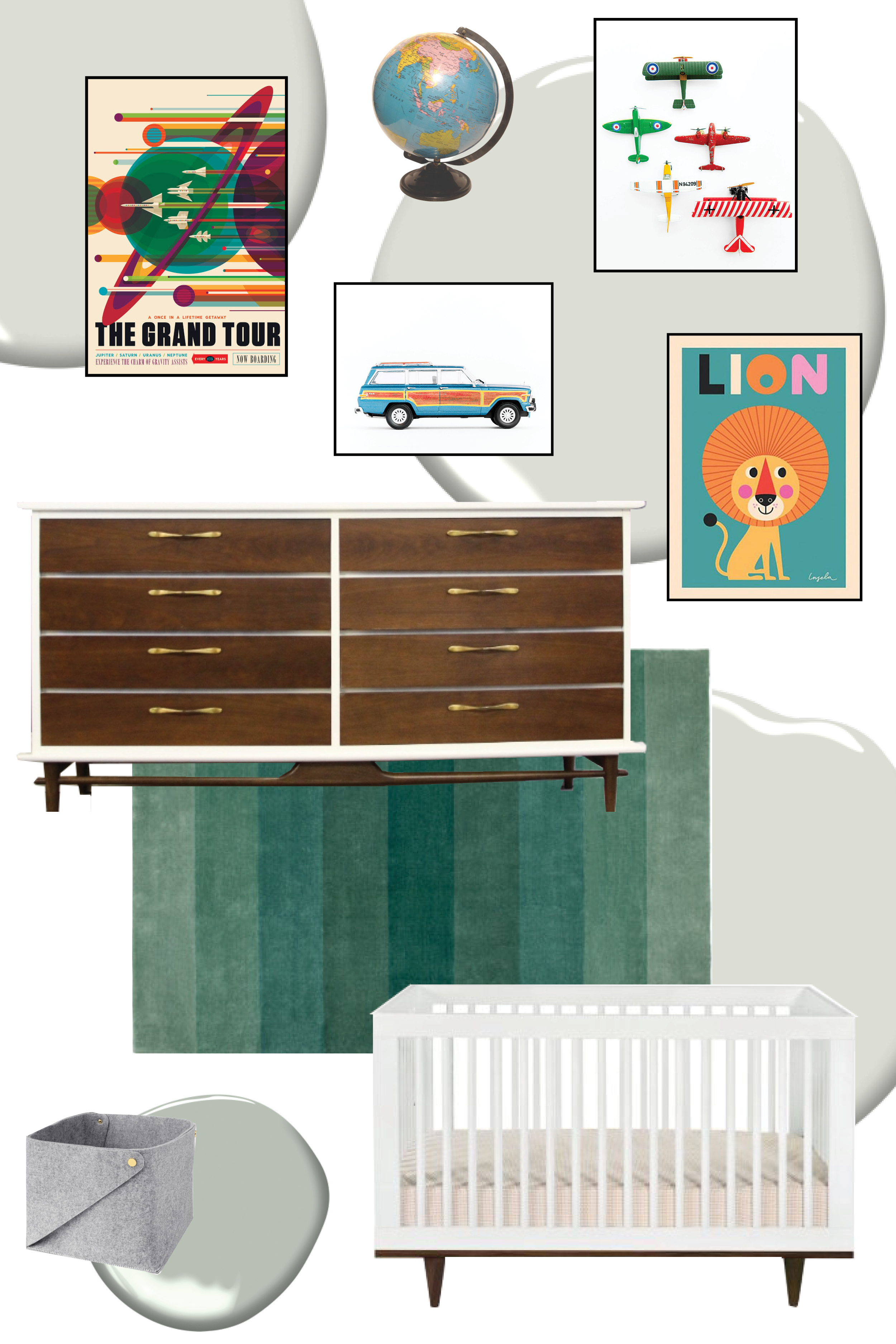 Grand Tour poster  (this is a FREE download that you can have printed wherever you'd like //  Leslee Mitchell Car Series art  //  Lion poster  // dresser is vintage from  Megmade  //  IKEA rug  //  IKEA felt bin  //  Mod Marley crib  // wall color is Moonshine by Benjamin Moore // potential closet color is Misted Green by Benjamin Moore