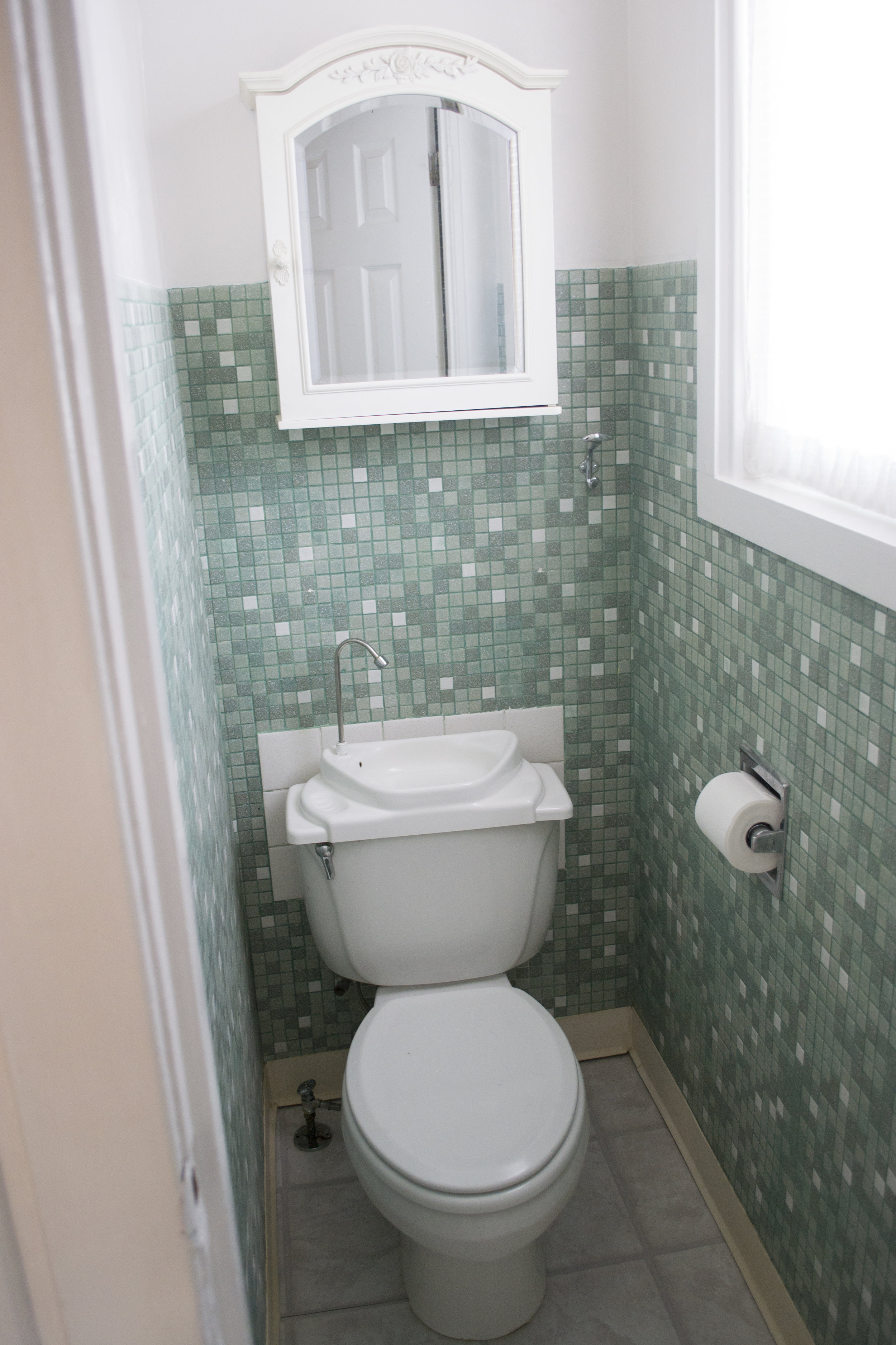 The bathroom when we first moved in. Literally the size of a restroom stall.