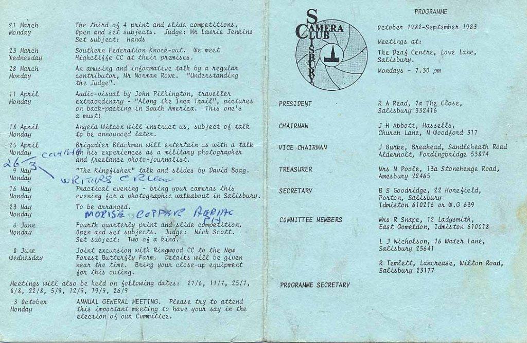Programme 1982-1983