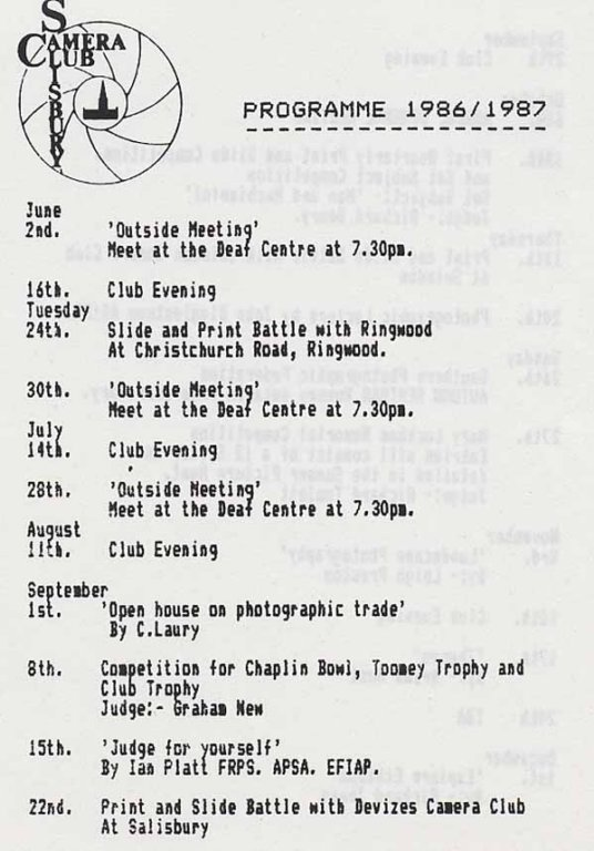 Programme 1986-1987