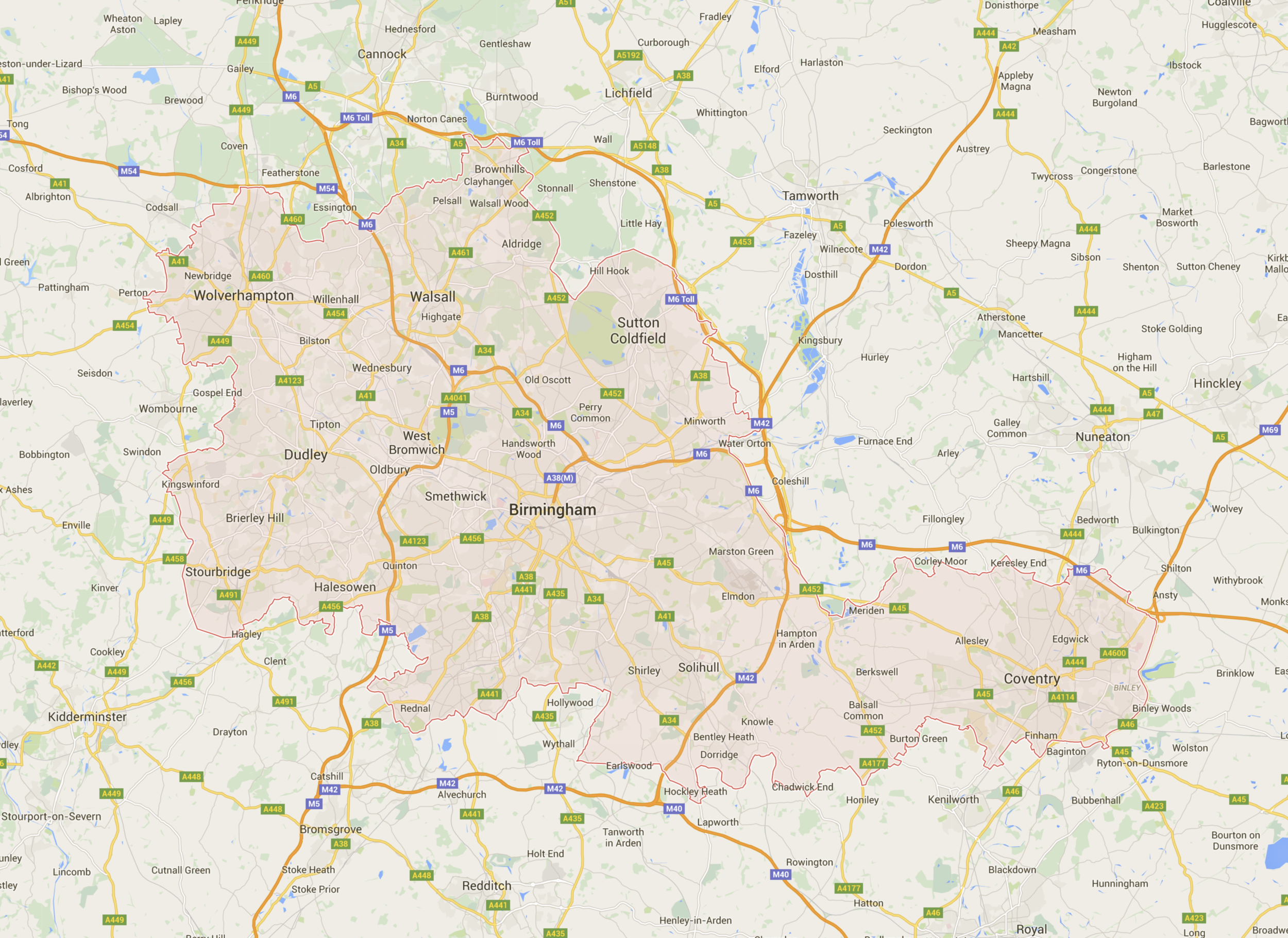 Google Map of the West Midlands