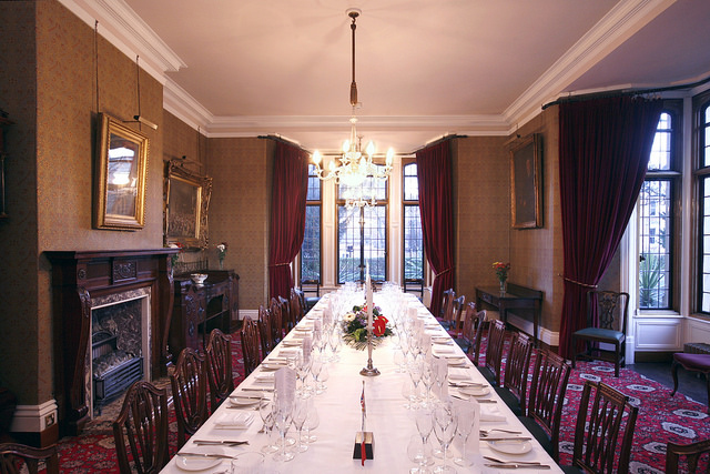 The dining room set out for a formal meal