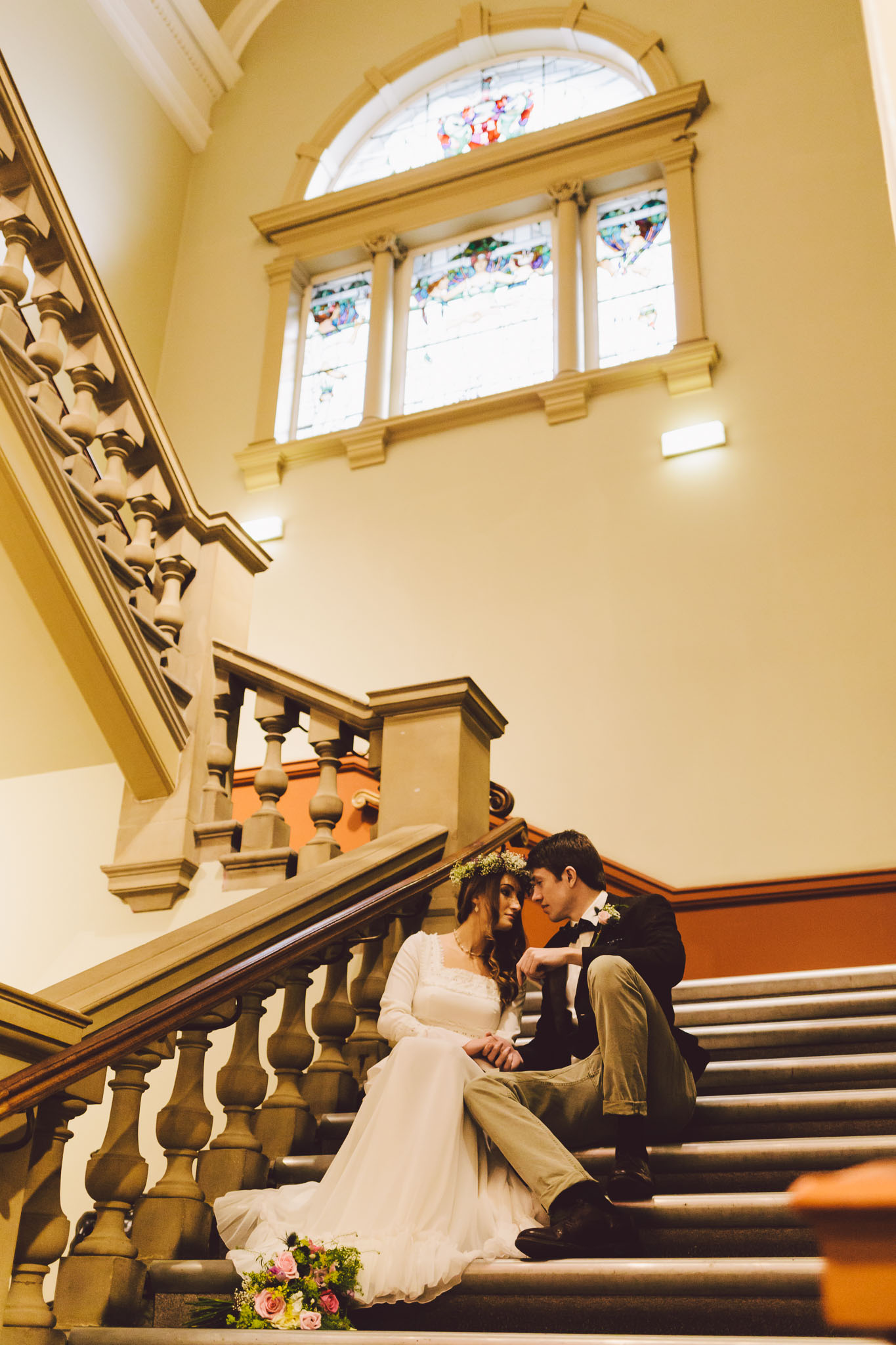 Marble staircase at the Laing Art Gallery - Part of our vintage styled wedding photoshoots