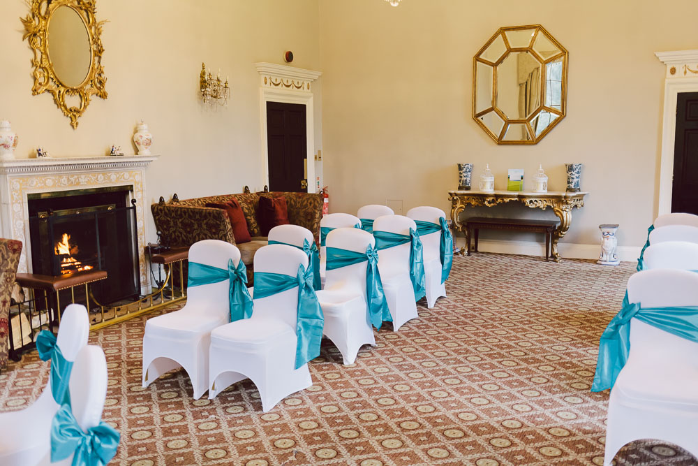 The ceremony room set up for Aigul & Kevin's wedding at Linden Hall