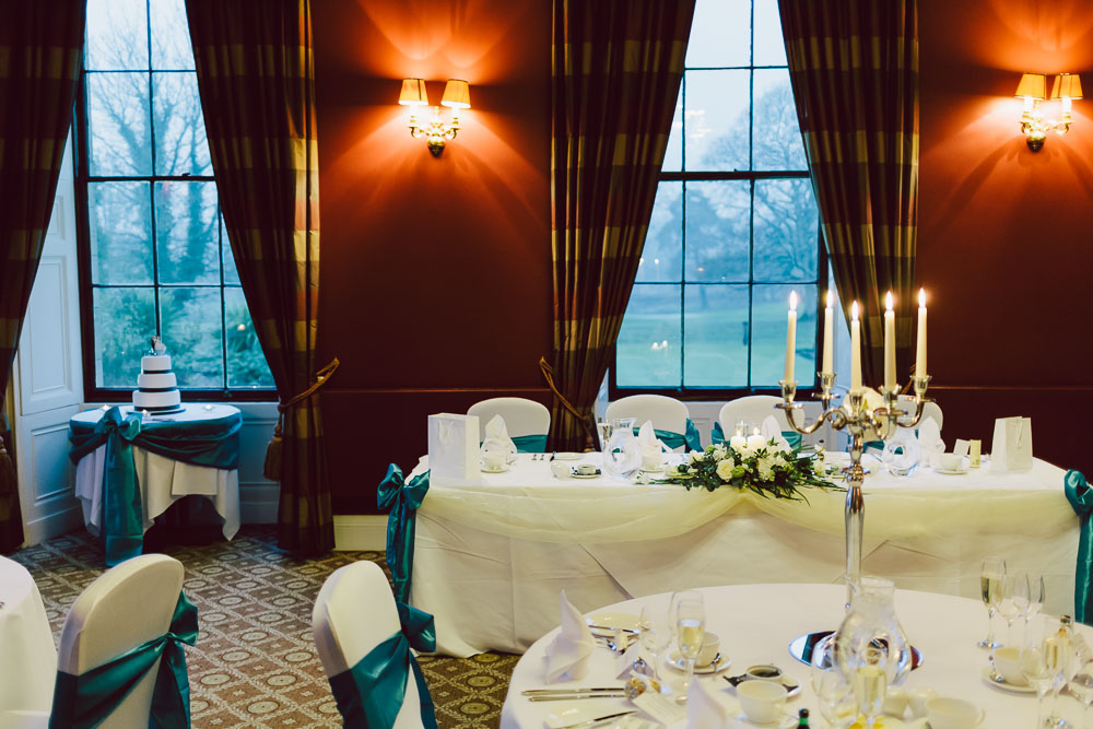 Linden Hall function room set out for the wedding breakfast