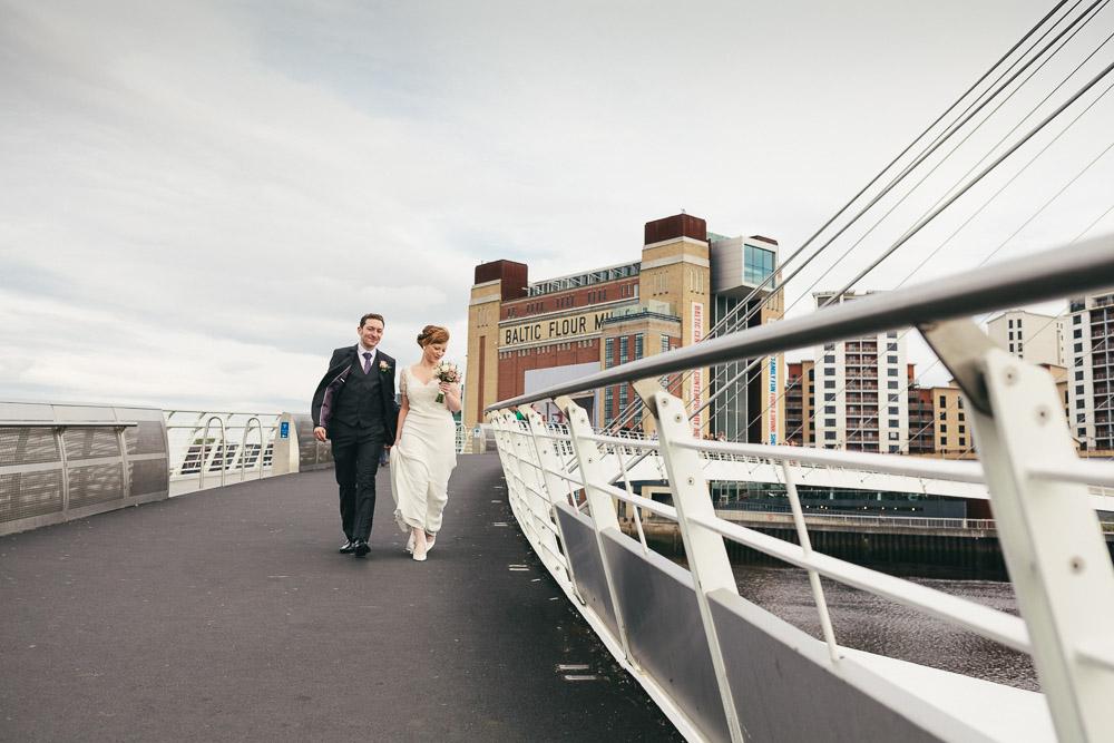 Katy-Rose and Chris' wedding on the Millennium Bridge, Newcastle