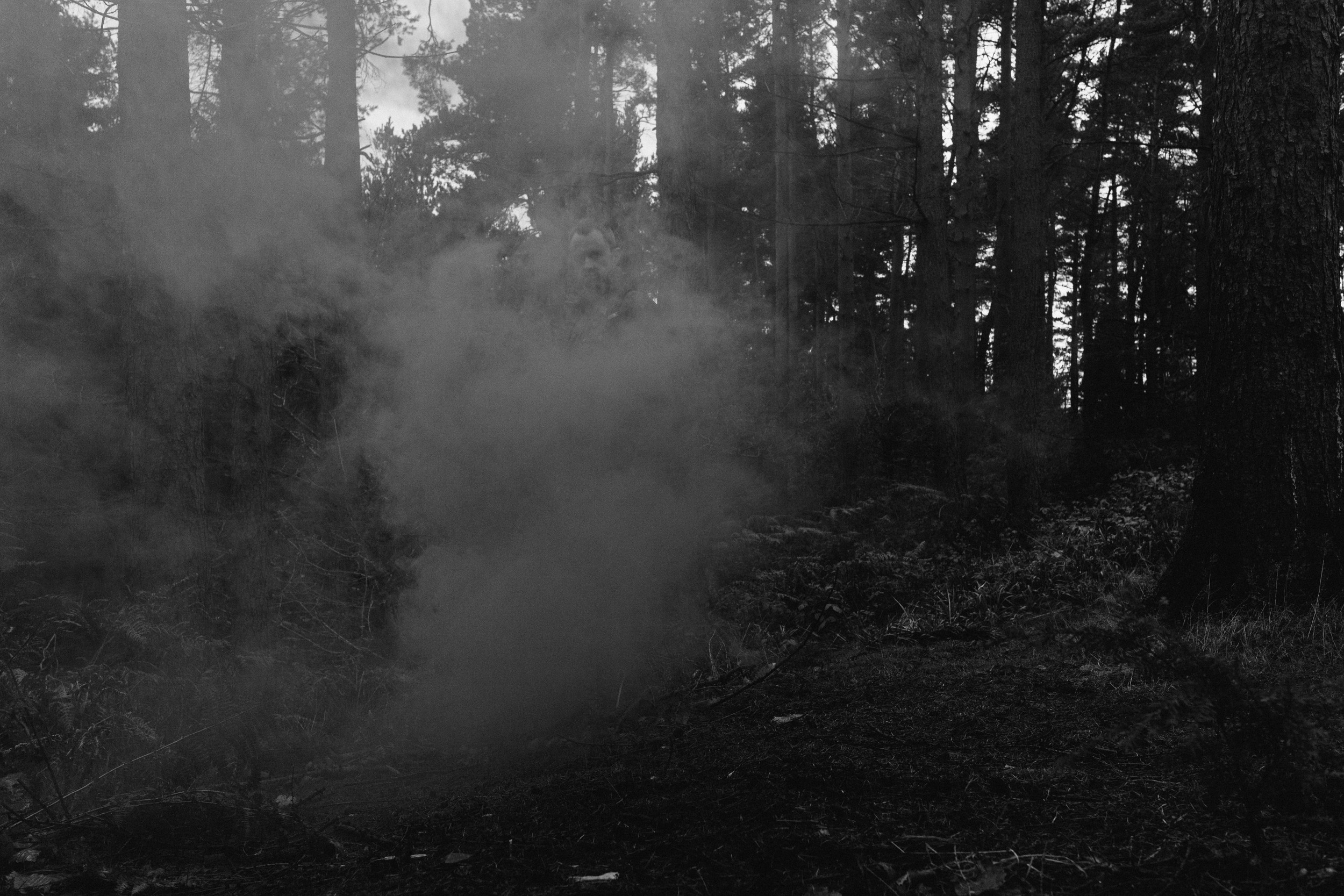Barry Forshaw // Engagement test shot with smoke bomb at Chopwell Woods (black and white)